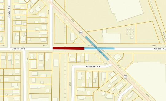 road closure, map, geele ave, calumet ave