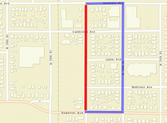 Road Closure, map, n 17th street