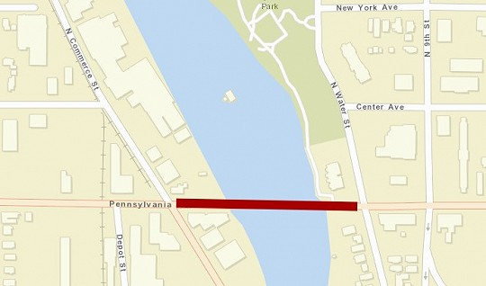 Penn Ave Lane Closure Map